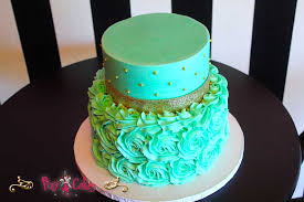 wedding cake birthday cake baby shower cake aqua green 2 tier gold