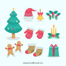 christmas accessories pack of decorative christmas accessories vector free