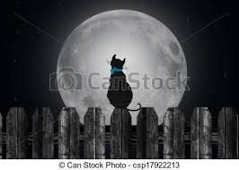 cat on fence with moon silhouette of a cat on the fence clipart