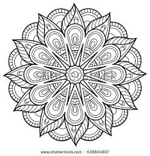 floral mandala coloring book adults stock vector 638604697