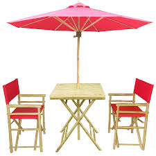 Patio Furniture Sets With Umbrella - amazon com zew 4 piece bamboo outdoor backyard patio set with