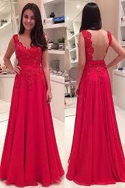 elegant v neck floor length lace backless red prom evening dress