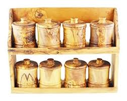 portaspezie legno legno di ulivo portaspezie con 8 barattoli grano naturale