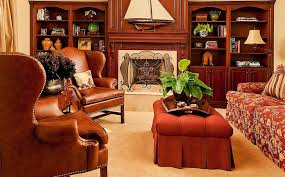 Leather Wingback Chair With Ottoman Design Ideas Furniture Bookshelf In Great Traditional Family Room Design With