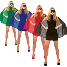 short superhero cape and eye mask halloween fancy dress