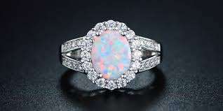 wedding rings opal images White gold opal diamond ring wedding promise diamond jpg
