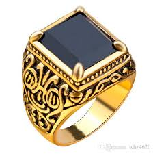 gold stone rings images 2018 luxury cool unique black stone ring retro gold totem jewelry jpg