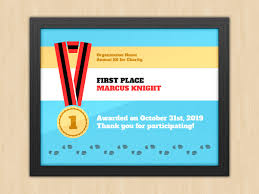 first place award certificate collection note worksheet templates