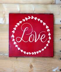 love words letters wall art signs rustic love wood sign red