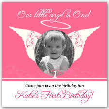 little angel pink photo birthday invitations paperstyle