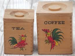 roosters wood canisters shabby country vintage kitchen canister set