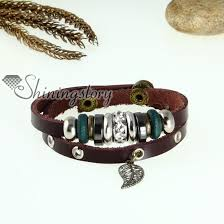 leaf wrap bracelet images Leaf two layer genuine leather wrap bracelets wholesale jpg