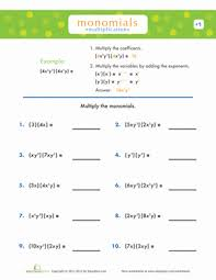 multiplying monomials worksheets education com