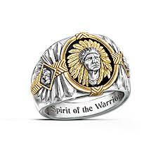 stainless steel mens rings spirit of the warrior american inspired onyx and stainless