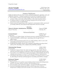 Hospitality Resume Sample by Resume Hospitality Resume Examples