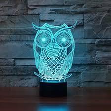 Owl Table L New 3d Visual Owl Shape Led Light Acrylic 7 Color Change Led