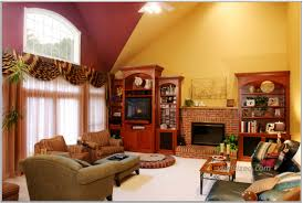 living room accent wall ideas for white curtain cream color