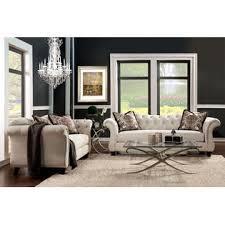 furniture of america catarina traditional beige flared arm 2 piece