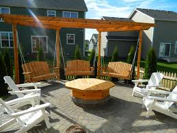 Firepit Swing Apple Valley Pit With Pergola Swings Design Hardscapes