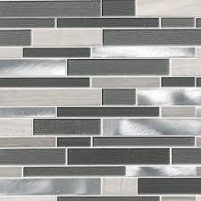 urban loft interlocking pattern 4mm glass stone metal mosaic tile