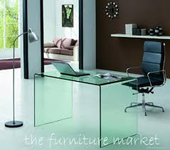 Modern Glass Office Desk by Decor Home Office With Glass Computer Desk And Floor Lamp Also