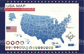 us map capitals blue usa map outline with state capitals and its territories stock
