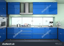 Modern Kitchen Interiors by Modern Kitchen Interior Blue Color Theme Stock Illustration