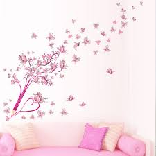 online get cheap wallpaper butterfly pink aliexpress com pencil flower butterfly pink tree background walls stickers for living room bedroom home decor wallpaper mural