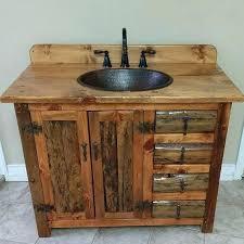 rustic bathroom cabinets salvaged wood vanity with birch bark