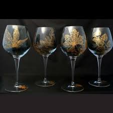 beautiful wine glasses set of hand painted gold leaf crystal wine glasses classonglass