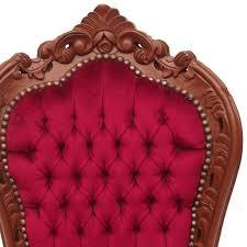 Esszimmerstuhl Federkern Barocker Esszimmerstuhl Mit Braunem Massivholzrahmen Und Roter