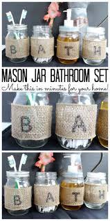 Mason Jar Bathroom Decor Mason Jar Bathroom Set Make Your Own The Country Chic Cottage