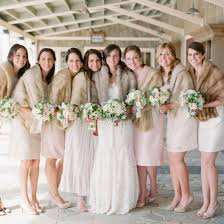fur shawls for bridesmaids winter bridesmaids in fur stoles weddinggawker
