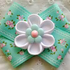 back to school hair bows aqua handmade kanzashi flower hair from ghinescreations