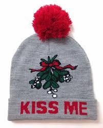 mistletoe hat me mistletoe pom beanie christmas winter knit