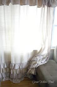 Curtains With Ruffles Green Willow Pond Ruffled Dropcloth Curtains