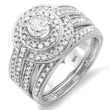 white gold wedding rings designer 2 carat diamond white gold wedding ring set jewelocean