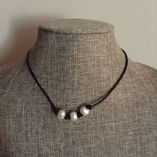 choker style pearl necklace images Leather and freshwater pearl necklace from startwithstone on etsy jpg