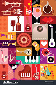music party art collage musical instruments stock vector 186034478