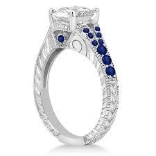 antique art deco blue sapphire engagement ring 14k white gold 0 33ct