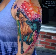 watercolor horse tattoo on left half sleeve by marc durrant