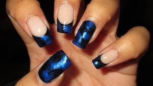 black u0026 blue french tip nail art april 2014 1 diy nail art