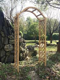 rustic arch pressure treated natural timber finish amazon co uk
