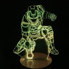 Iron Man Night Light Remote Avengers Mavel Lamp Led Night Light Hero Iron Man Lamp 3d