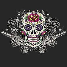 hair glove womens biker ez bands sugar skull guns