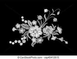 imagenes blancas en fondo negro plano de fondo negro bordado salvaje flores blancas clip art