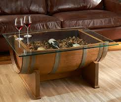 Wine Coffee Table Oak Wine Barrel Cocktail Table The Green