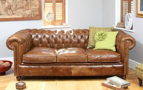 historian vintage leather 3 seater sofa bed industrial sofa