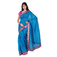 buy peacock blue chanderi saree online shopping