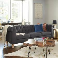 Chesterfields Sofa Charcoal Gray Quentin Chesterfield Sofa World Market
